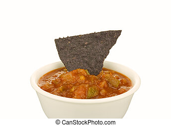 Blue Corn Tortilla Chip and Salsa - Image of blue corn...