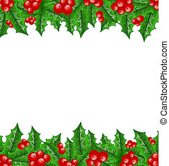 Christmas decoration holly berry branches - Illustration...
