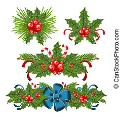 Set holly berry sprigs for christmas decorations