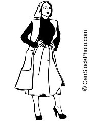 vector sketch of a beautiful girl in a scarf and cardigan -...