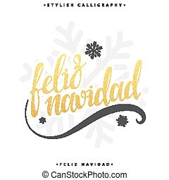 Merry Christmas card with greetings in spanish language....