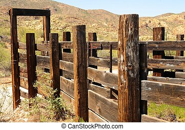 Western Corral - Old Arizona corral in the desert mountains