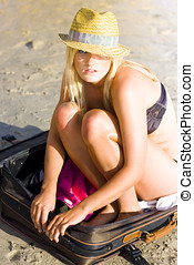 Adventure Is Out There - Blonde Bikini Woman With Sunhat At...