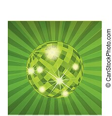 Disco ball abstract vector background with burst rays for poster