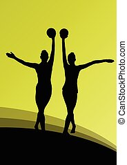 Rhythmic gymnast woman with ball vector abstract background...