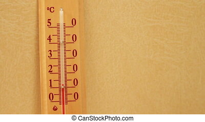 Temperature rising on a thermometer. - Red mercury in a...