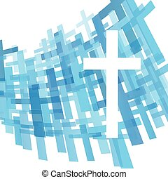 Cross clear blue abstract Christianity religion background...