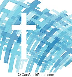 Cross clear blue abstract Christianity religion background vector illustration