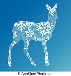 Doe deer made of snowflakes winter concept abstract blue...