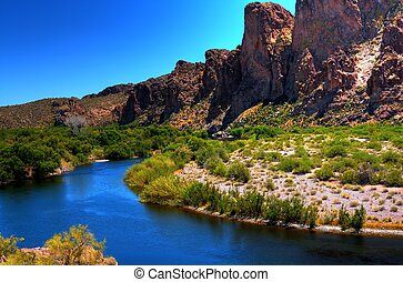 Desert River - River in the winter Arizona desert mountains