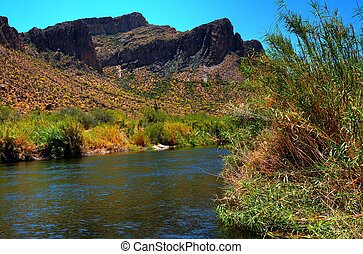 Desert River - River in the winter Arizona desert mountains