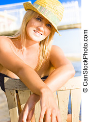 California Girl - Young Attractive Blonde Female With Tan...