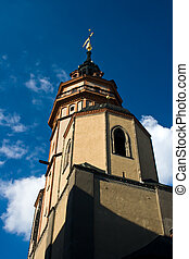 tower of the church nikolaikirche leipzig - tower of the...