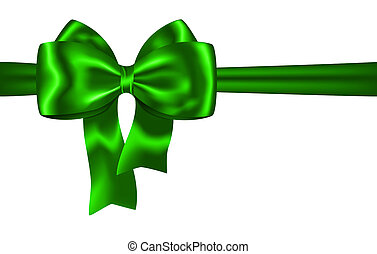 Green ribbon and bow for festive decorations. Vector...