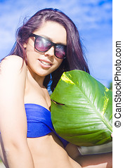Beautiful Young Woman With Green Leaf - Beautiful Young...