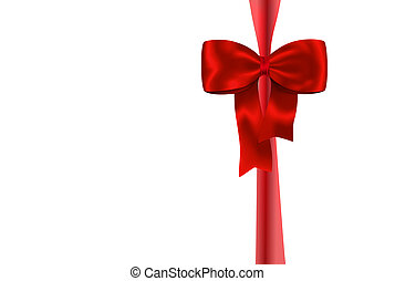 Red gift ribbon with luxurious bow isolated on white...