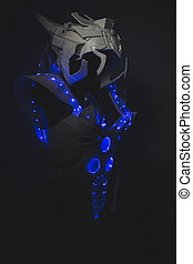 Astronaut Blue LED lights armor made with plastics and lightweight materials.