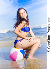 Beach Ball Bikini Babe - Youthful And Happy Beach Ball...
