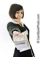 money, money, money... - happy young business woman isolated...