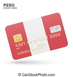 Credit card with Peru flag background for bank,...