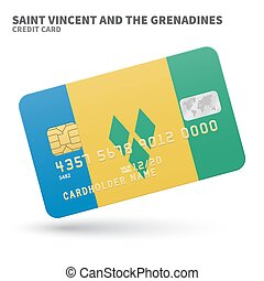 Credit card with Saint Vincent and the Grenadines flag...