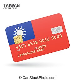 Credit card with Taiwan flag background for bank,...