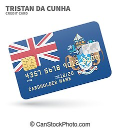 Credit card with Tristan da Cunha flag background for bank,...