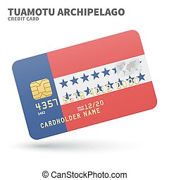 Credit card with Tuamotu Archipelago flag background for...