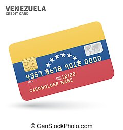 Credit card with Venezuela flag background for bank,...