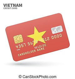 Credit card with Vietnam flag background for bank,...
