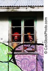Haunted House Of Horrors - 3 Ghoulish Clowns Stare Peering...
