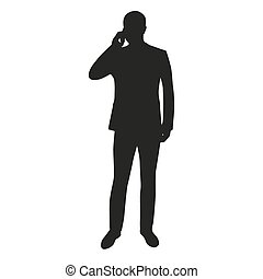 Business man with mobile phone, vector silhouette
