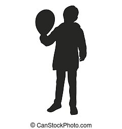 Small kid with balloon, vector silhouette