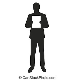 Man holding white board vector silhouette