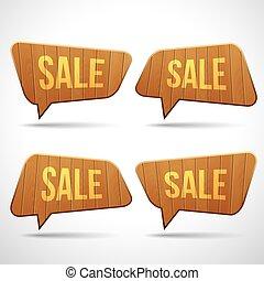 Set of wooden sign speech bubbles