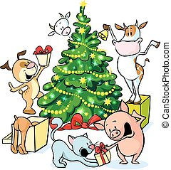 farm animals celebrate Christmas under the tree - vector...