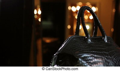 Bag made of crocodile skin.