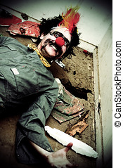 Mr Sleepy The Creepy Clown Lays On A Holey Rubbish Littered...