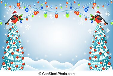 Christmas forest and bullfinches in Santa Claus hat with...