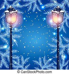 Christmas fur tree and streetlamp - Christmas vintage...