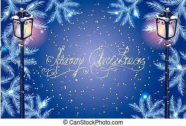 Christmas fur tree and vintage streetlamp - Christmas...