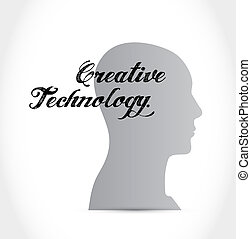 creative technology brain sign concept illustration design...