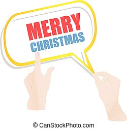 Hand drawn speech bubbles on Merry Christmas background. Vector illustration
