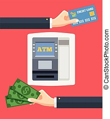 ATM terminal and credit card cash bank service. Vector flat...