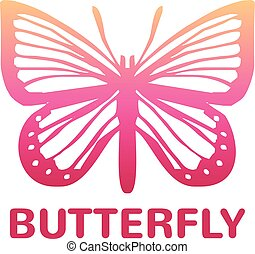 Vector pink color butterfly icon illustration