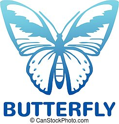 Vector blue color butterfly icon illustration