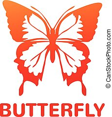 Vector orange color butterfly icon illustration