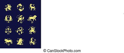 Zodiac signs vector outline gold icon set