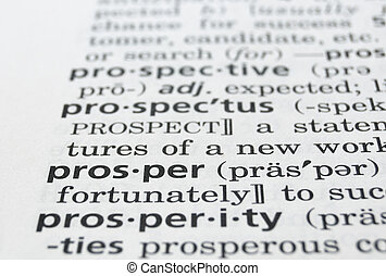 Prosper Defined - The word Prosper in a dictionary, closeup