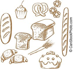 Bakery sketch icons with bread and pastry